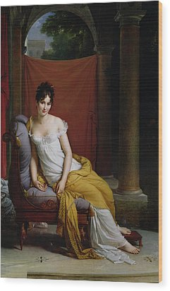Portrait Of Madame Recamier Wood Print by Francois Pascal Simon Gerard