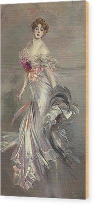 Portrait Of Marthe Regnier Wood Print by Giovanni Boldini