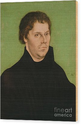 Portrait Of Martin Luther Wood Print by Lucas Cranach the Elder
