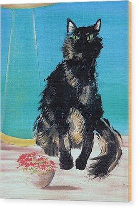 Wood Print featuring the painting Portrait Of Muffin by Denise Fulmer