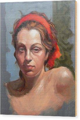 Portrait Of Phoebe Wood Print by Roz McQuillan