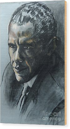 Charcoal Portrait Of President Obama Wood Print