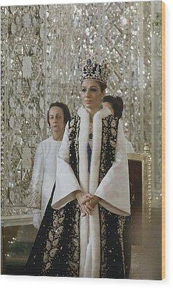 Portrait Of Queen Farah Pahlavi Dressed Wood Print by James L Stanfield