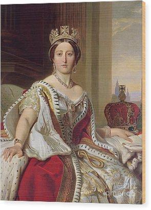 Portrait Of Queen Victoria Wood Print by Franz Xavier Winterhalter