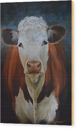 Wood Print featuring the painting Portrait Of Sally The Cow by Cheri Wollenberg