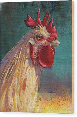Portrait Of The Chicken As A Young Cockerel Wood Print