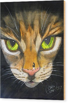 Portrait Of Tigger Wood Print by Chris Crowley