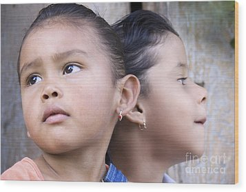 Wood Print featuring the photograph Portrait Of Two Panama Girls by Heiko Koehrer-Wagner
