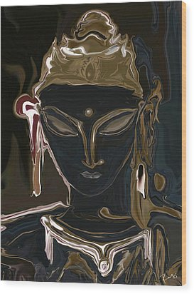 Wood Print featuring the digital art Portrait Of Vajrasattva by Rabi Khan