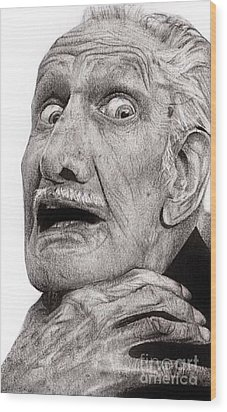 Portrait Of Vincent Price Wood Print by Carrie Jackson