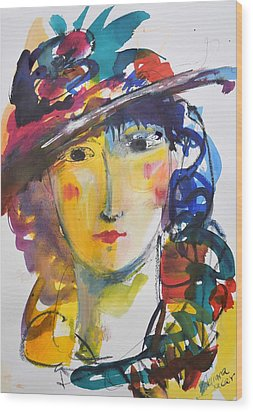 Portrait Of Woman With Flower Hat Wood Print by Amara Dacer