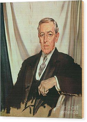 Portrait Of Woodrow Wilson Wood Print by Sir William Orpen