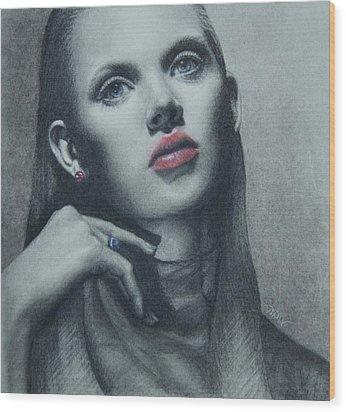 Portrait Study Wood Print by Dee Dee Whittle