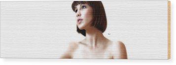 Portrait White  Wood Print by Steven Digman