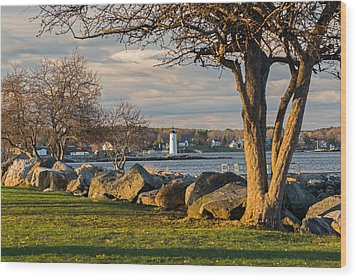 Portsmouth Harbor Light At New Castle Commons Wood Print