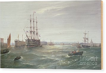 Portsmouth Harbour With Hms Victory Wood Print by Robert Ernest Roe