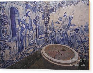 Portuguese Azulejo Mural Wood Print by Gaspar Avila