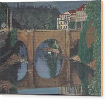 Portuguese River Bridge Wood Print by Hilda and Jose Garrancho