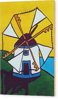 Portuguese Singing Windmill By Dora Hathazi Mendes Wood Print by Dora Hathazi Mendes