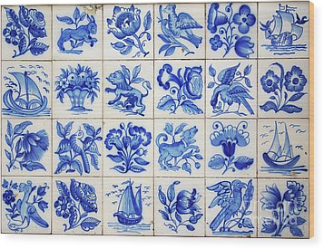 Portuguese Tiles Wood Print by Carlos Caetano