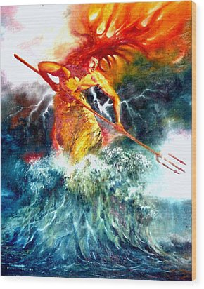 Wood Print featuring the painting Poseidon by Henryk Gorecki