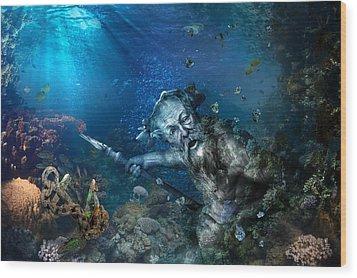 Poseidon Wood Print by Marc Huebner