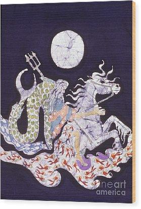 Poseidon Rides The Sea On A Moonlight Night Wood Print by Carol  Law Conklin