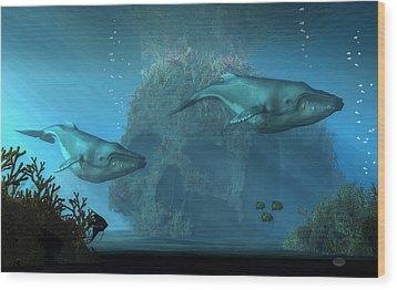 Wood Print featuring the digital art Poseidon's Grave by Daniel Eskridge