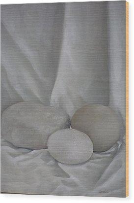 Posing Pebbles Wood Print