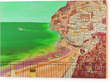 Wood Print featuring the painting Positano Bay by Loredana Messina
