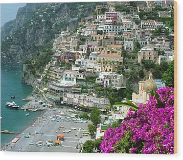 Positano's Beach Wood Print by Donna Corless