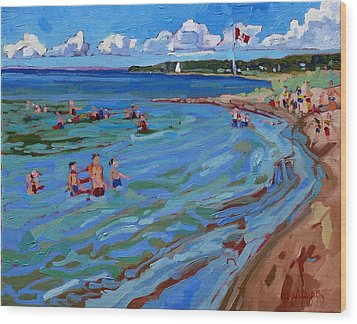 Positively Buoyant Beach People Wood Print by Phil Chadwick