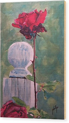 Wood Print featuring the painting Post And The Rose by Jim Phillips