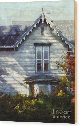 Wood Print featuring the photograph Postage Due - Farmhouse Window by Janine Riley