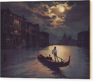 Wood Print featuring the painting Postcards From Venice - The Red Gondola by Douglas MooreZart