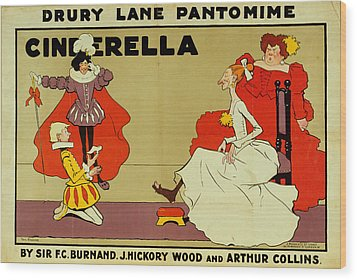 Poster For Cinderella Wood Print by Tom Browne