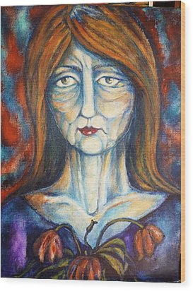 Wood Print featuring the painting Postmenopausal by Rae Chichilnitsky