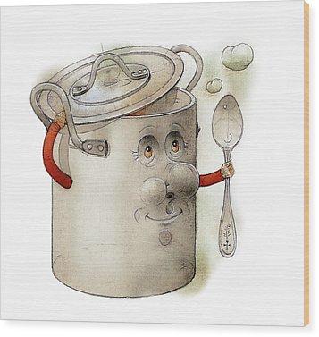 Pot Wood Print by Kestutis Kasparavicius