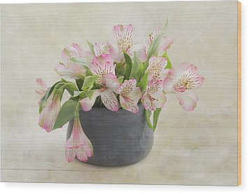Wood Print featuring the photograph Pot Of Pink Alstroemeria by Kim Hojnacki