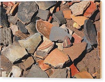 Pot Shards Wood Print by Joe Kozlowski