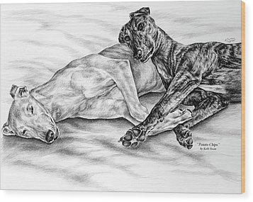 Potato Chips - Two Greyhound Dogs Print Wood Print by Kelli Swan