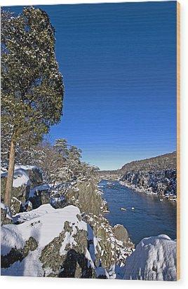 Potomac River At Great Falls National Park During Winter Wood Print by Brendan Reals
