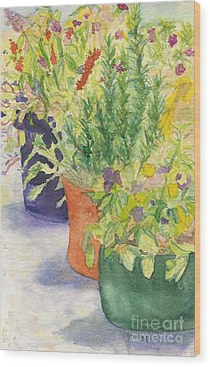 Wood Print featuring the painting Potted Beauties  by Vicki  Housel