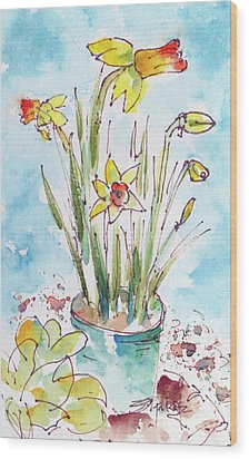 Wood Print featuring the painting Potted Daffodils by Pat Katz