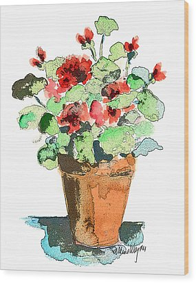 Potted Geraniums Wood Print by Arline Wagner