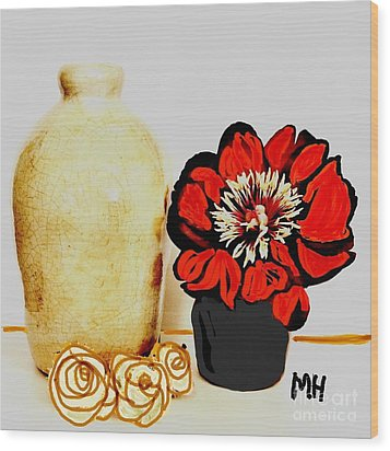 Wood Print featuring the painting Pottery Peony Roses by Marsha Heiken