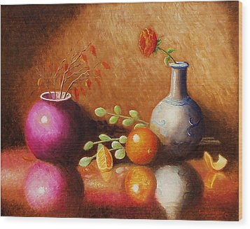 Wood Print featuring the painting Pottery Plus by Gene Gregory