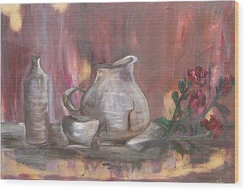 Wood Print featuring the painting Pottery by Sladjana Lazarevic