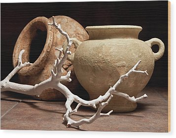 Pottery With Branch II Wood Print by Tom Mc Nemar