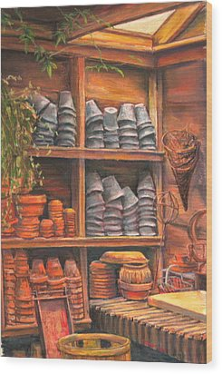 Potting Shed Wood Print by Sam Pearson